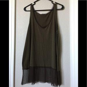 Zara long dark green tank top shirt